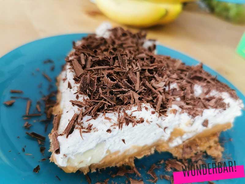 Banoffee Pie. Saftiger Bananenkuchen mit Karamell.