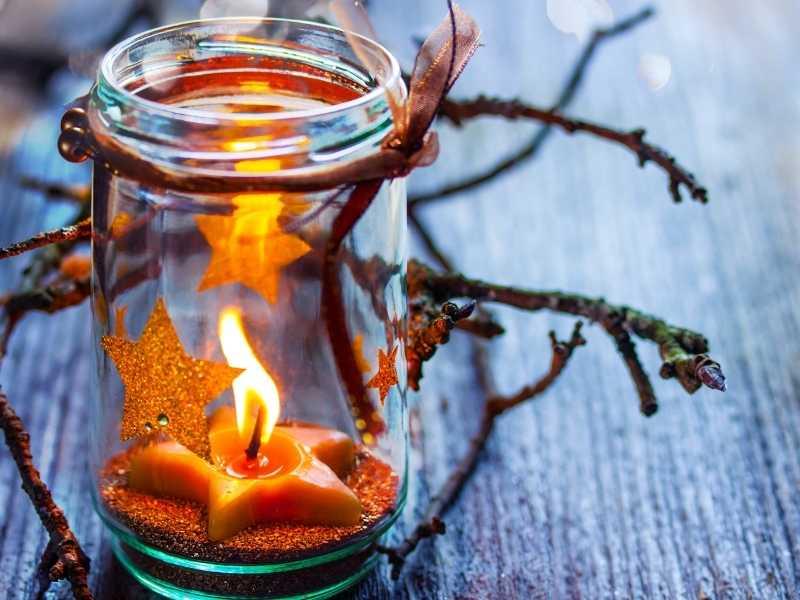 Herbstdeko im Glas