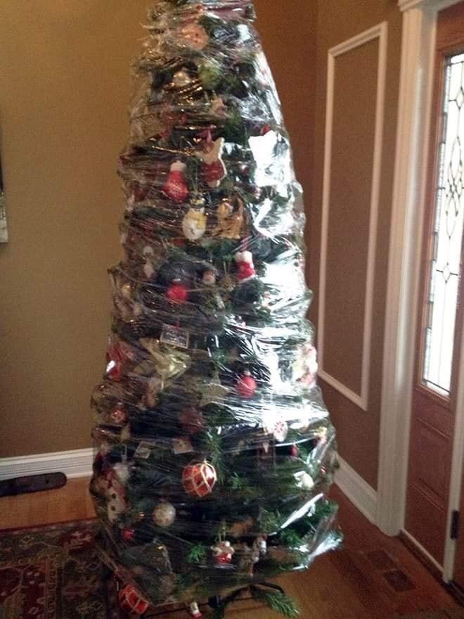 Weihnachtsbaum in Folie